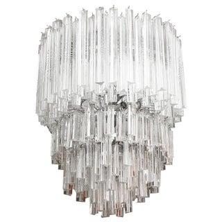 Cascading Italian Murano Venini Glass Prism Chandelier