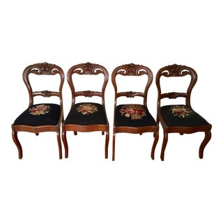 Victorian Sculpted Floral Crest & Needlepoint Seat Salon Chairs - Set of 4