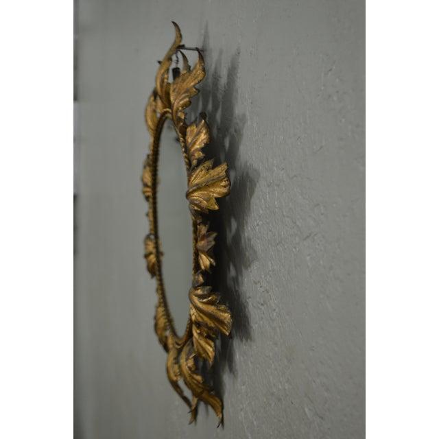 Hollywood Regency Mid century Gold Gilt Metal Starburst Wall Mirror - Image 4 of 11