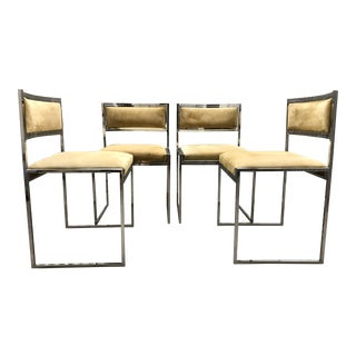 1970s Willy Rizzo Italian Chrome Dining Chairs - Set of 4