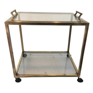 Brass Bar Cart with Removable Tray