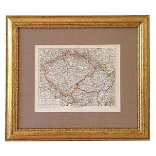 Antique Map Of Czechoslovakia, Moravia & Bohemia