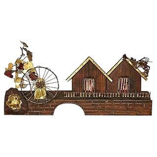 Metal Waterwheel & House Wall Sculpture