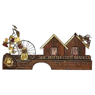 Metal Waterwheel & House Wall Sculpture