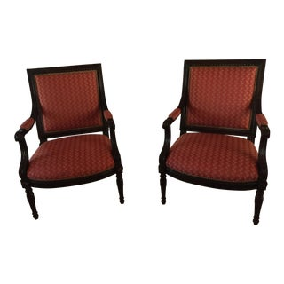 Carved Wood & Nailhead Upholstered Bergere Chairs - A Pair