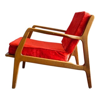 Vintage Ib Kofod Larsen Style Mid-Century Danish Modern Lounge Chair