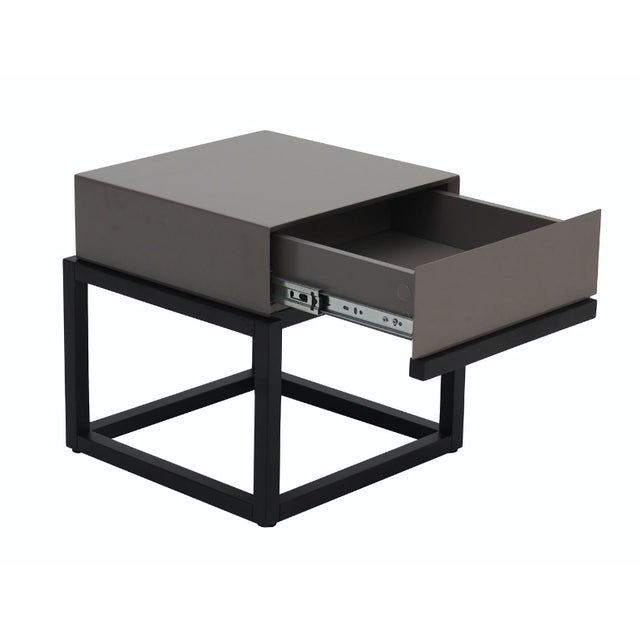 Image of Stone Gloss and Dark Oak Side Table