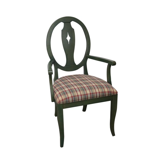 Ethan Allen Country Green Painted Arm Chair - Image 2 of 11