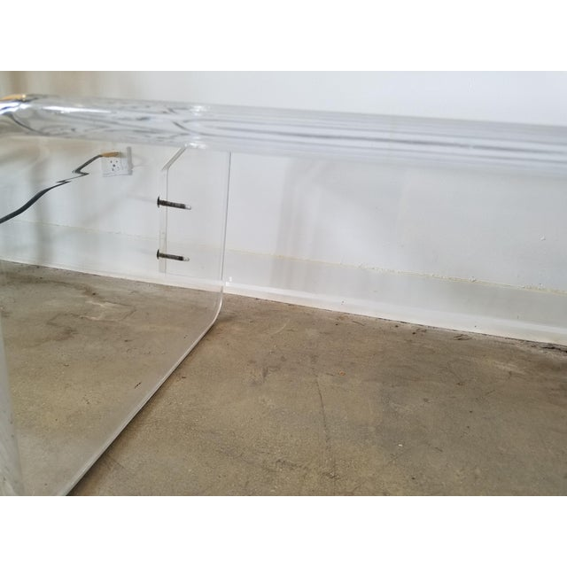 Image of Mid-Century Modern Lucite Bench & Cushion