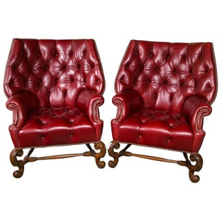 Oversized Tufted Leather Wingback Chairs - Pair