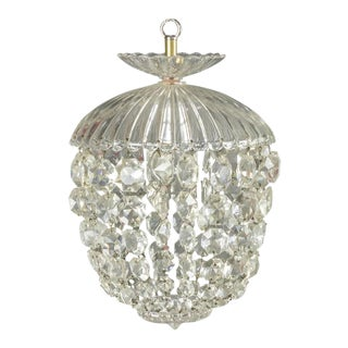 1940s French Crystal and Glass Pendant Ceiling Fixture