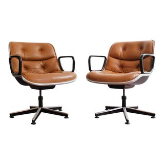 Mid-Century Charles Pollock Executive Swivel Chairs - A Pair