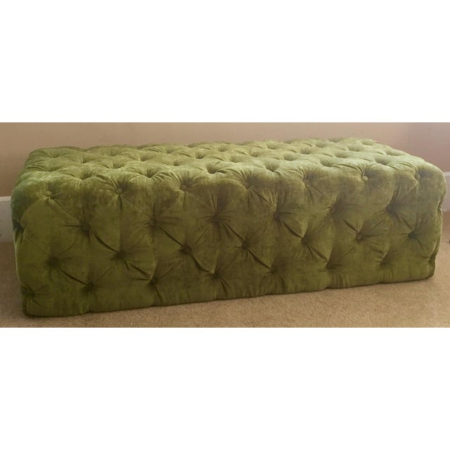 Green Tufted Velvet Ottoman/Coffee Table - Image 2 of 7