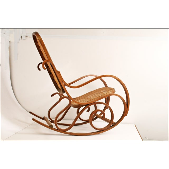 Vintage Thonet-Style Bentwood Cane Rocking Chair - Image 3 of 11