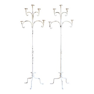 Pair of Large Antique Wrought Iron Candelabra
