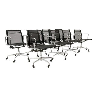 THREE LEFT! Black Mesh Eames Aluminum Group Dining / Conference Chairs