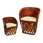 Image of Leather Equipal Chairs - A Pair