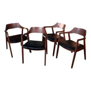 Mid Century Modern Walnut Armchairs - Set of 4