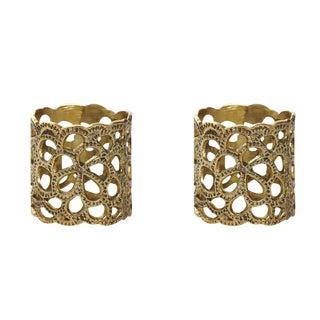 Oscar De La Renta Brass Gardenia Napkin Ring- A Pair