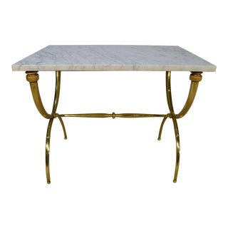 Gio Ponti Style Italian Mid-Century Brass & Marble End Table
