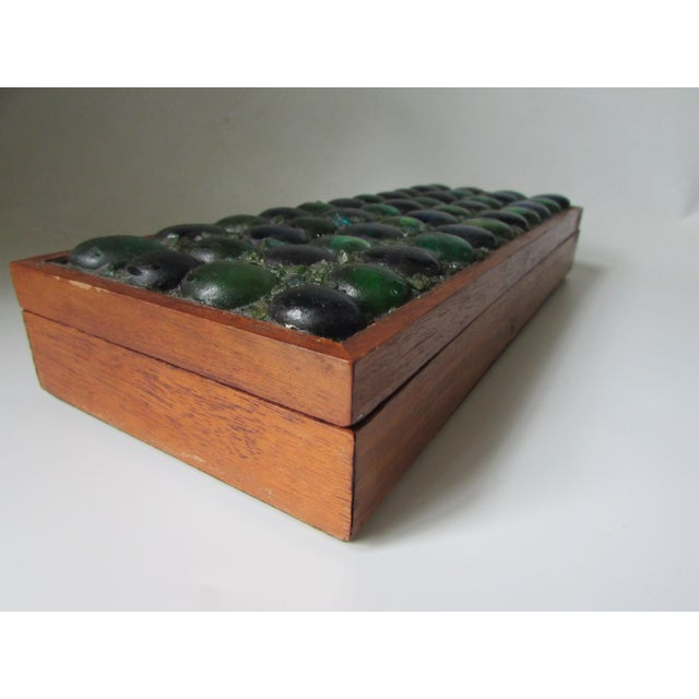 Mid-Century Glass Tiled Wood Box - Image 9 of 10