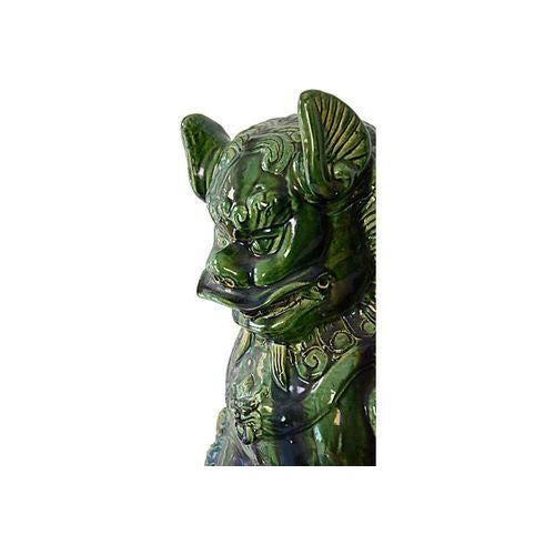 Vintage Grand Emerald Foo Dogs - S/2 - Image 2 of 7