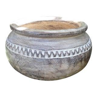White-Washed Tribe Wood Bowl