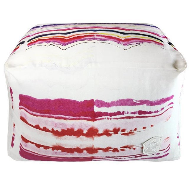 Pink Patterned Pouf - Image 1 of 3