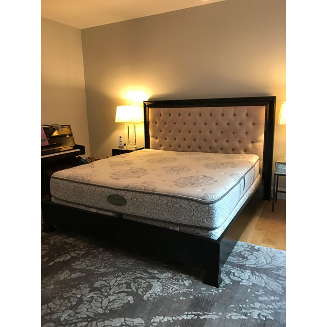 Z Gallerie Espresso Wood & Tufted Fabric King Sized Bed Frame - Image 2 of 8