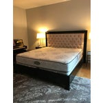 Image of Z Gallerie Espresso Wood & Tufted Fabric King Sized Bed Frame