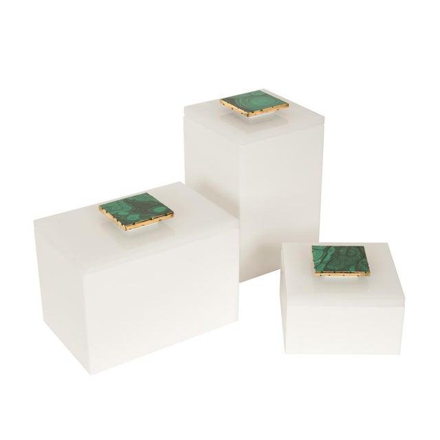 Image of White Box With Malachite Top - Medium