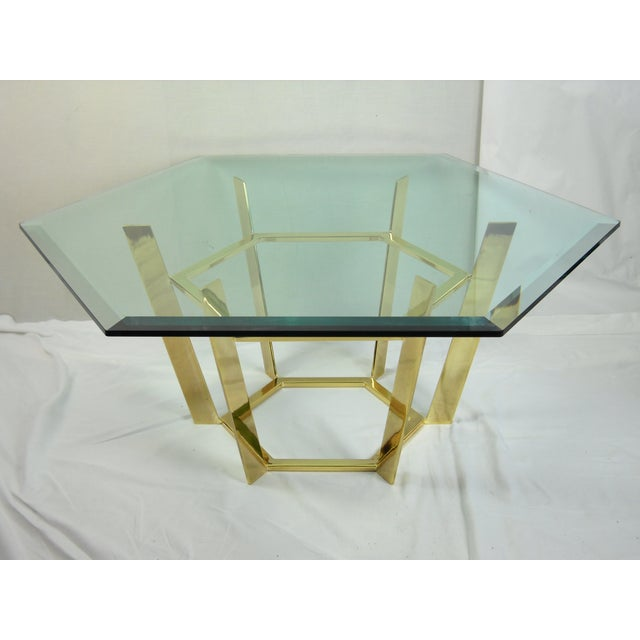 Modernist Hexagonal Brass Glass Coffee Table Chairish