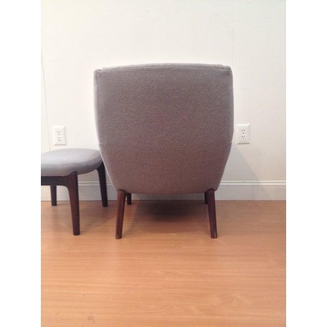 Danish Modern Upholstered Lounge Chair & Ottoman - Image 7 of 11