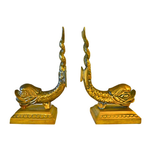Cast Brass Dolphin Bookends - Image 1 of 5