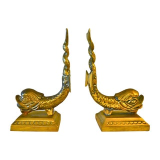 Cast Brass Dolphin Bookends