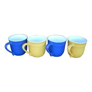 Emile Henry French Blue & Yellow Mugs - Set of 4