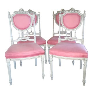 Gustavian Style Pink & Gray Chairs - Set of 4