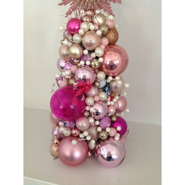 Vintage Pink Pearl Christmas Ornament Topiary Tree - Image 5 of 7