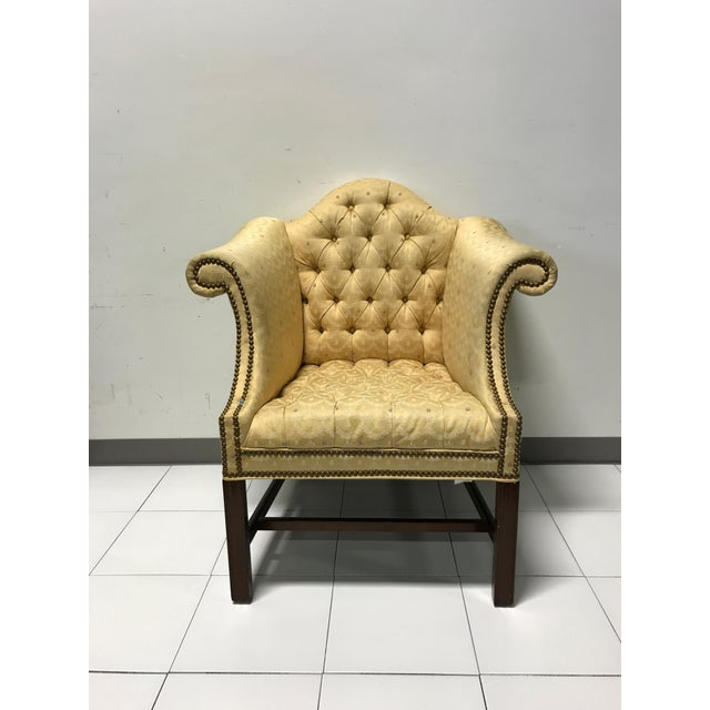 Vintage Fairington Mahogany Frame Button Tufted Arm Chair - Image 3 of 11