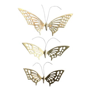 Walk Mounted Brass Butterflies - Set of 3