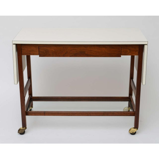 John Stuart Danish Drop Leaf Rolling Bar Server - Image 3 of 9