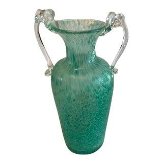 Vintage Speckled Aqua Murano Vase