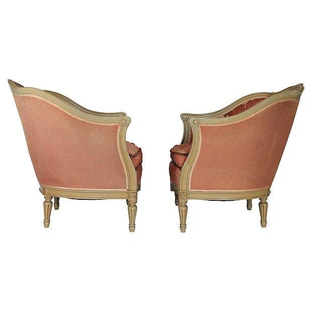 louis xvi bergere chairs a pair chairish. Black Bedroom Furniture Sets. Home Design Ideas