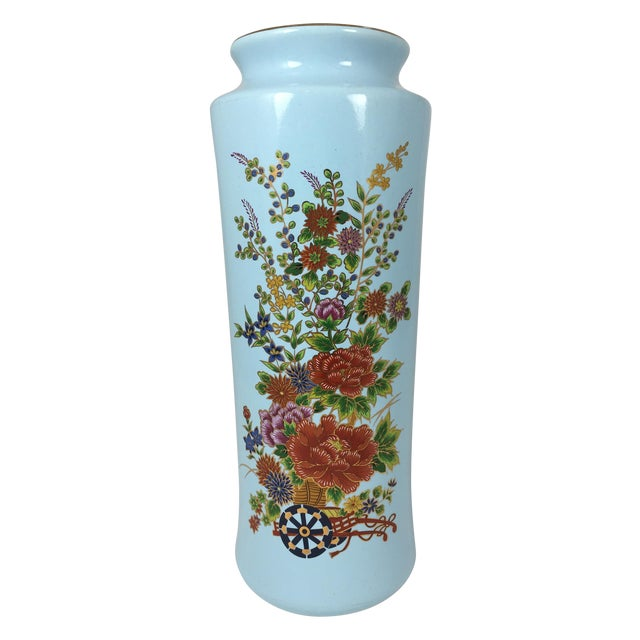 Chinoisere Blue Vase Made in Japan - Image 1 of 5
