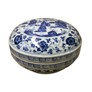 Chinese Blue & White Porcelain Round Accent Box