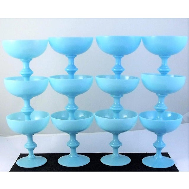Vintage Portieux Vallerysthal French Blue Opaline Champagne Coupes - Set of 12 - Image 4 of 4