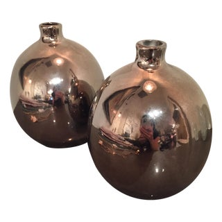 Metallic Decorative Vases - A Pair