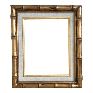 Gold Bamboo & Linen Matted Frame, 8x10, Vintage