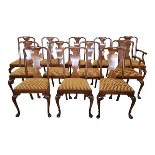 Antique Late 19th C. Walnut Dining Room Chairs - Set of 12