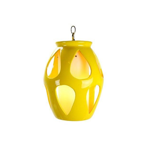 Mid-Century Modern Yellow Ceramic Pendant - Image 3 of 5